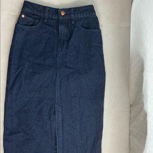 Free People Denim Skirt Jean Raw Edge Hem